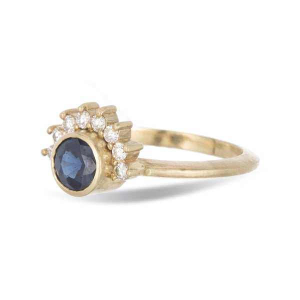 Arunika- 14K yellow gold, blue sapphire and diamond halo engagement ring - Amanda K Lockrow