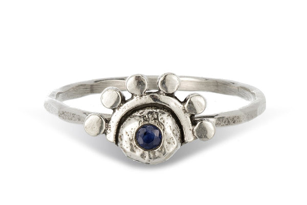 Blue sapphire sterling silver oriana stacking ring - Amanda K Lockrow