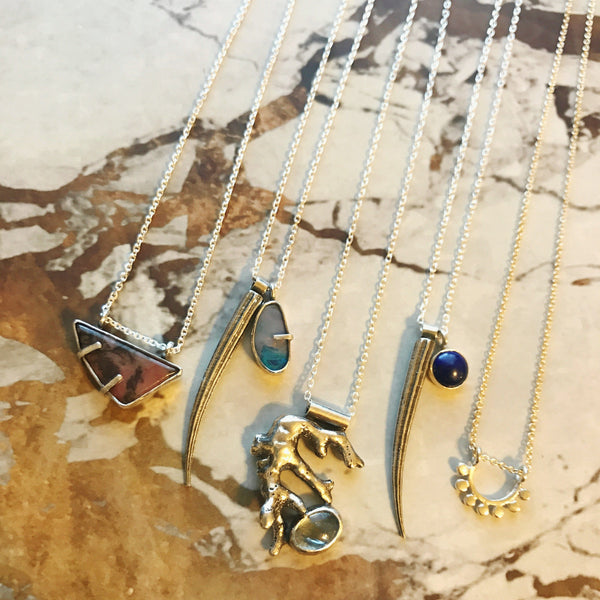 Sterling silver tusk shell and Lapis Lazuli necklace // Darya Collection
