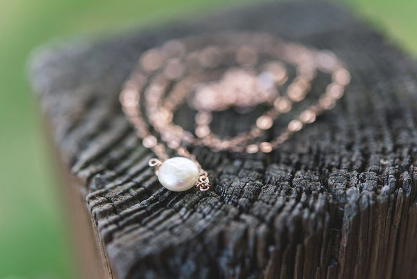 White coin pearl little rock sterling silver necklace - Amanda K Lockrow