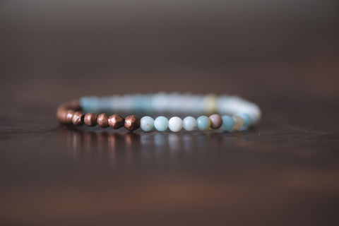 Power of 11 Copper and amazonite stretchy bracelet