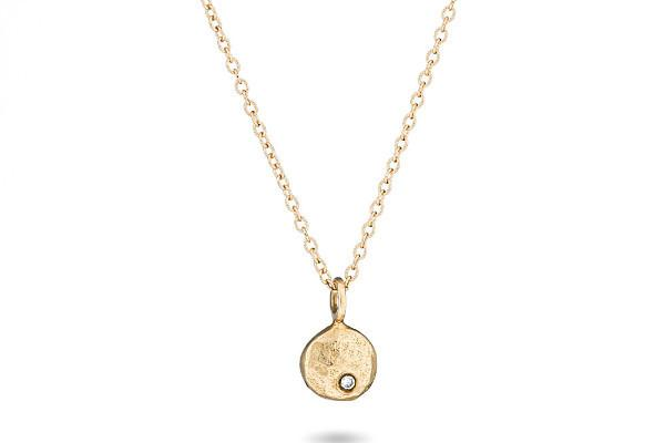 14K yellow gold & diamond pebble necklace - Amanda K Lockrow