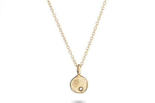 14K yellow gold & diamond pebble necklace necklace Amanda K Lockrow