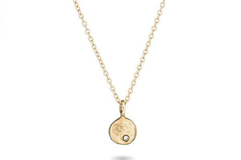 14K yellow gold & diamond pebble necklace