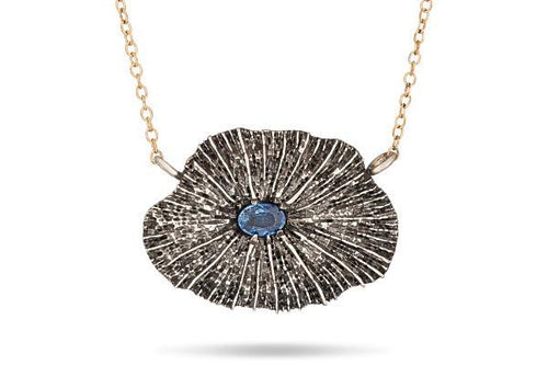 Coral & blue sapphire sterling silver necklace, statement necklace necklace Amanda K Lockrow