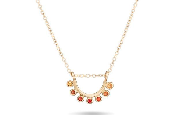 14k gold and sapphire dainty sunrise necklace - Amanda K Lockrow