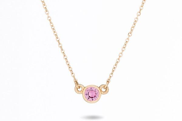 14k gold pink sapphire dainty necklace // birthstone necklace // bridesmaid gift - Amanda K Lockrow