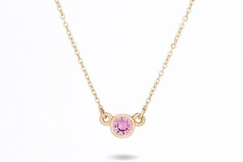 14k gold pink sapphire dainty necklace - ready to ship necklace Amanda K Lockrow