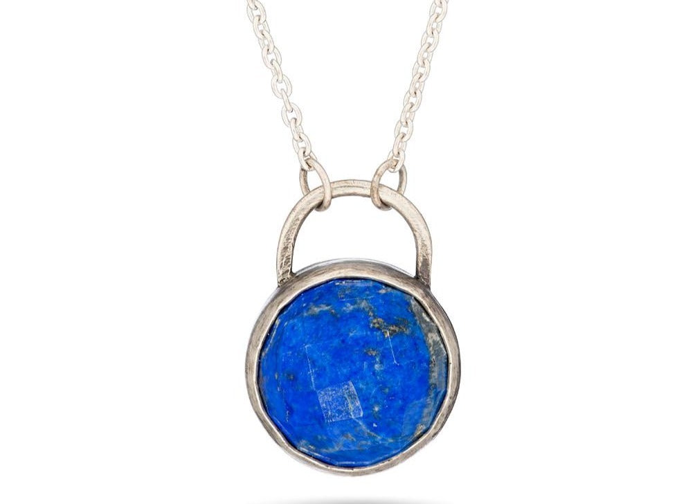 Lapis alvina cabochon stone necklace - Amanda K Lockrow