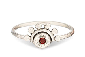 Garnet sterling silver oriana stacking ring // or choose your stone - Amanda K Lockrow