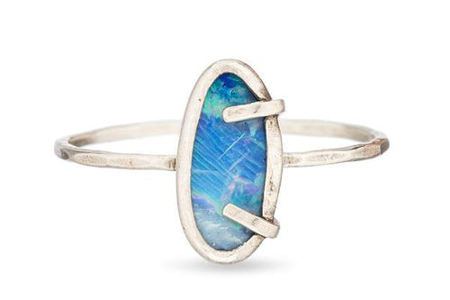 Boulder opal sterling silver ring ring Amanda K Lockrow