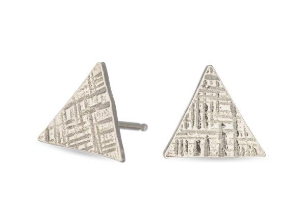 Sterling silver hammered triangle studs - Amanda K Lockrow