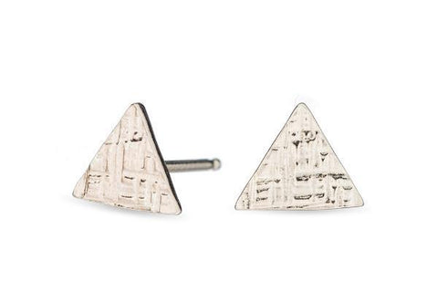 Sterling silver hammered tiny triangle studs