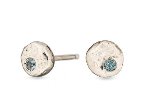 Aquamarine pebble sterling silver studs - Amanda K Lockrow