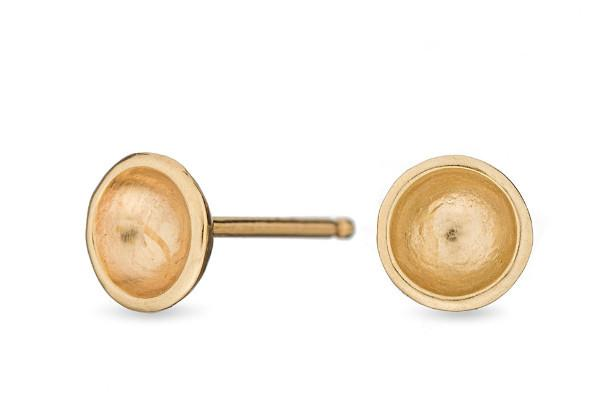 14k yellow gold darling mini bowl studs - Amanda K Lockrow