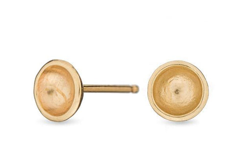 14k yellow gold darling mini bowl studs