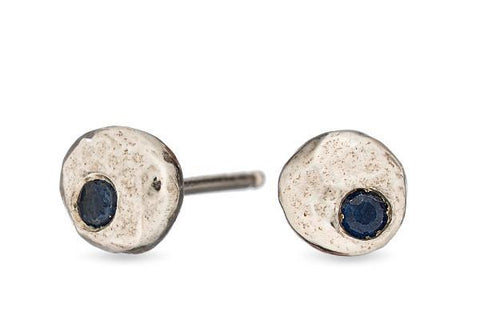 Blue sapphire pebble sterling silver studs