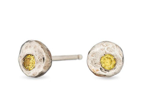 Citrine pebble sterling silver studs - Amanda K Lockrow