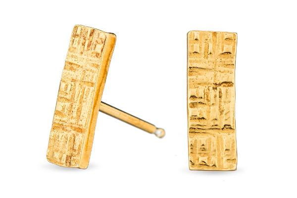 Gold vermeil crosshatched rectangle sterling silver stud earrings