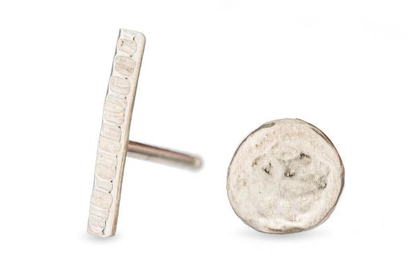 Sterling silver stick & pebble studs - Amanda K Lockrow