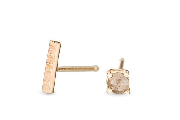 14k yellow gold stick & rosecut diamond studs