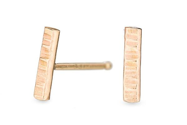 14k yellow gold dainty stick stud earrings - Amanda K Lockrow