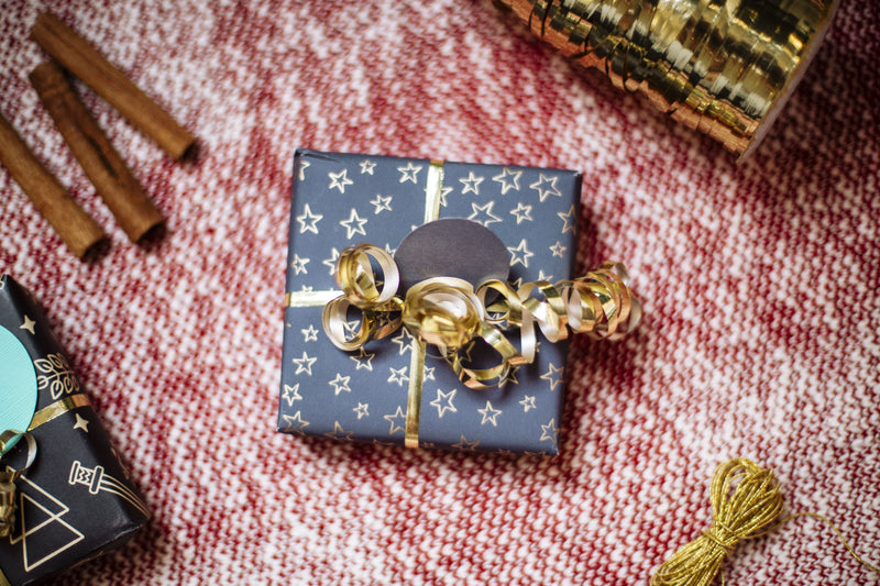 Gift wrap (with purchase from the shop) Amanda K Lockrow blue stars