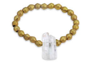 InGauge bracelet - brass & clear quartz, 6mm