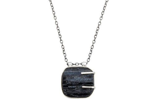 Black Tourmaline sterling silver necklace - Amanda K Lockrow