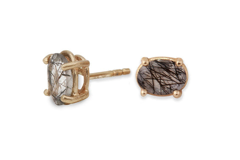 14k yellow gold tourmalinated quartz stud earrings - Amanda K Lockrow