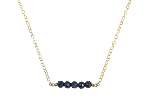 Elements- Blue Sapphire 14K yellow gold filled necklace - Amanda K Lockrow