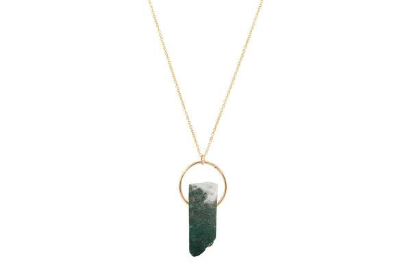 Moss Agate crystal bar 14K yellow gold filled necklace - Amanda K Lockrow