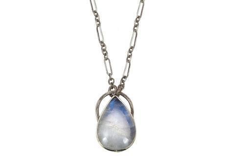 Alvina rainbow moonstone sterling silver statement necklace