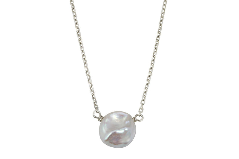 Keshi Pearl little rock silver necklace - Amanda K Lockrow
