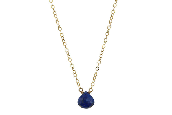 Dainty Lapis Lazuli drop 14K gold filled necklace // bridesmaid gift - Amanda K Lockrow