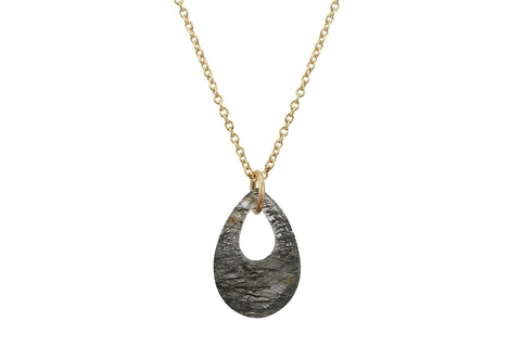 Tourmalinated Quartz teardrop 14K yellow gold filled necklace - Amanda K Lockrow
