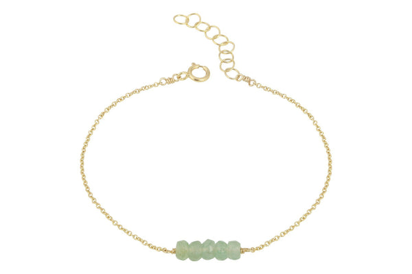 Elements- Aventurine 5 stone gold filled adjustable chain bracelet - Amanda K Lockrow