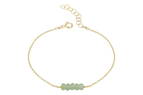 Elements- Aventurine 5 stone gold filled adjustable chain bracelet