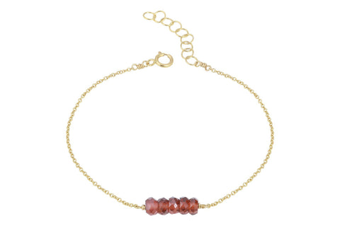 Elements- Garnet 5 stone gold filled adjustable chain bracelet