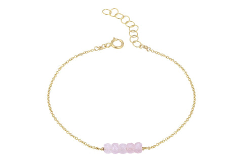Elements- Rose Quartz 5 stone gold filled adjustable chain bracelet