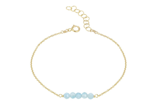 Elements- Aquamarine 5 stone gold filled adjustable chain bracelet - Amanda K Lockrow