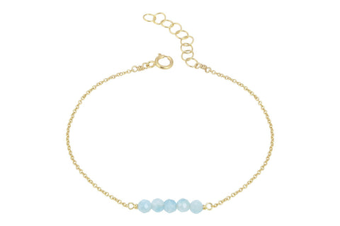 Elements- Aquamarine 5 stone gold filled adjustable chain bracelet
