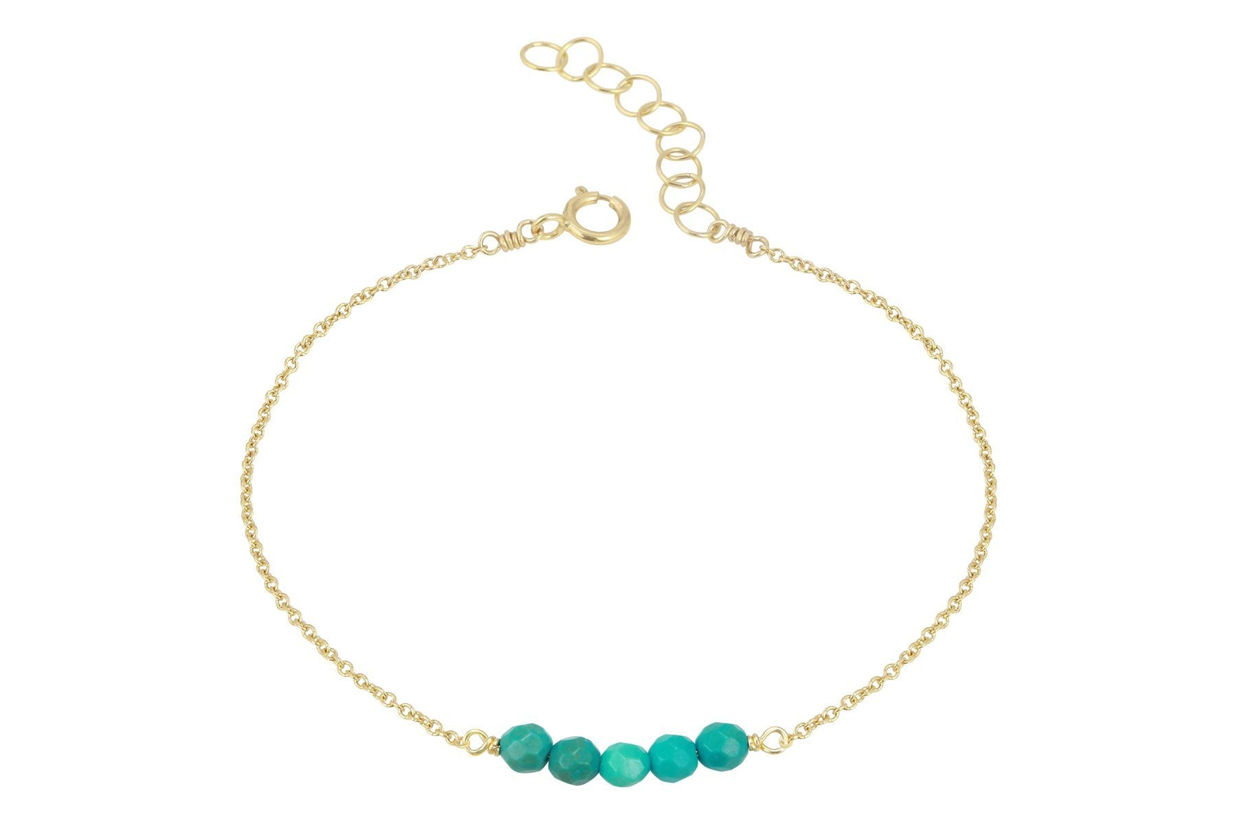 Elements- Turquoise 5 stone gold filled adjustable chain bracelet