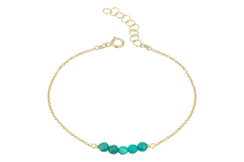 Elements- Turquoise 5 stone gold filled adjustable chain bracelet - Amanda K Lockrow