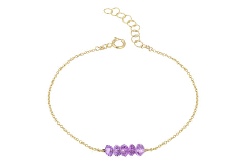 Elements- Amethyst 5 stone gold filled adjustable chain bracelet