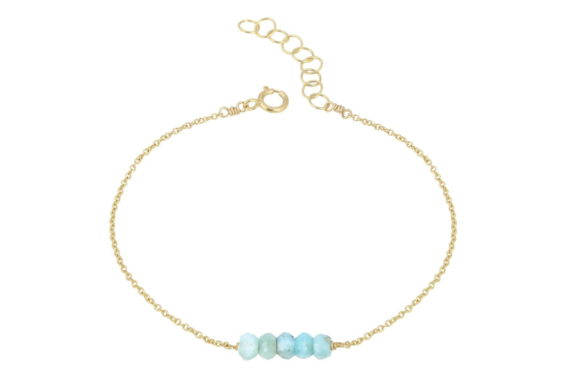 Elements- Larimar 5 stone gold filled adjustable chain bracelet