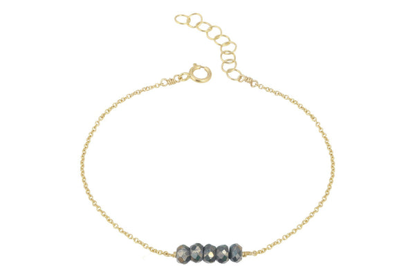 Elements- Pyrite 5 stone gold filled adjustable chain bracelet - Amanda K Lockrow