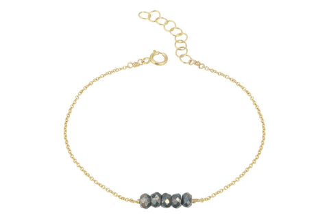 Elements- Pyrite 5 stone gold filled adjustable chain bracelet