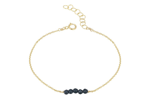 Elements- Black Onyx 5 stone gold filled adjustable chain bracelet