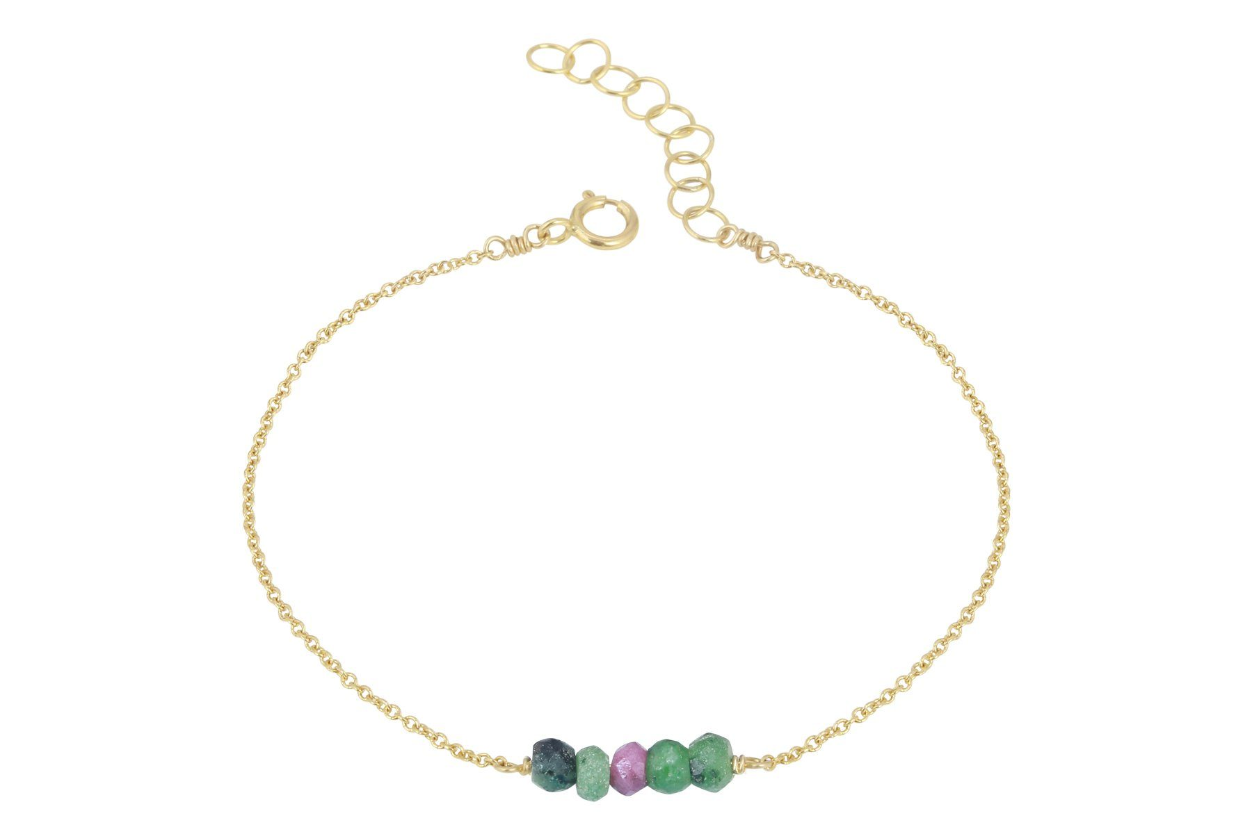 Elements- Ruby in Zoisite 5 stone gold filled adjustable chain bracelet - Amanda K Lockrow